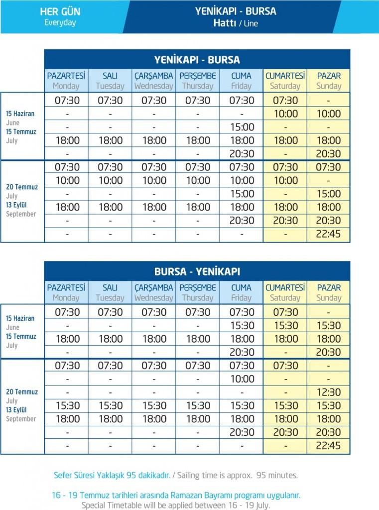 İDO Yenikapı Bursa yaz tarifesi