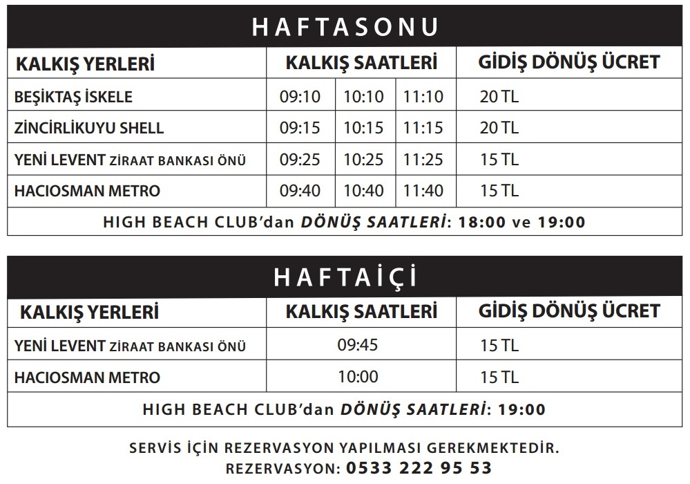 High Beach Club Ulaşım